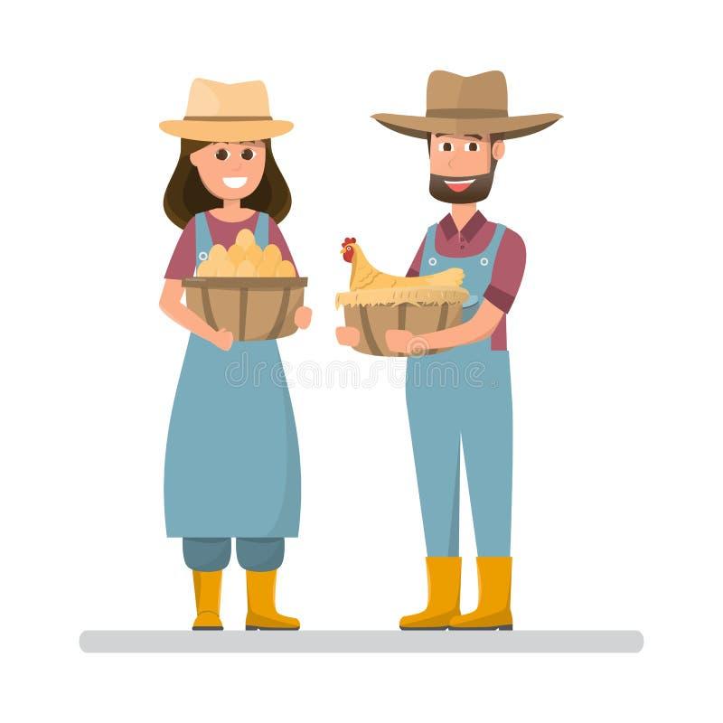 Agriculteur tenant les oeufs et la poule Homme et femme de bande dessinée avec organique illustration de vecteur