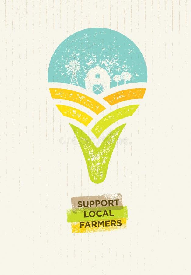 Agriculteurs de gens du pays de soutien Illustration organique créative de vecteur d'Eco sur le fond de papier réutilisé illustration de vecteur
