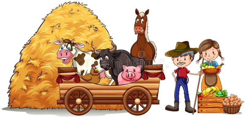 Agriculteurs et animaux de ferme illustration de vecteur
