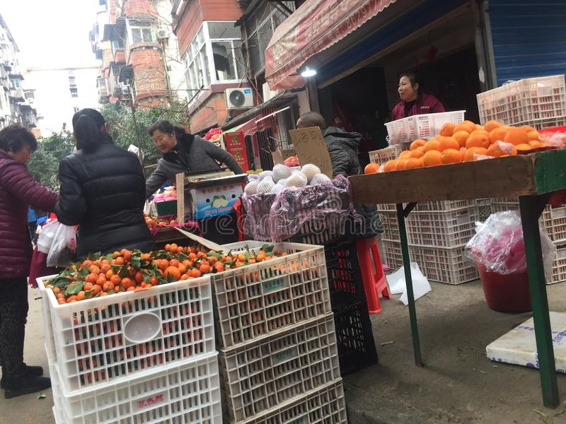 Agriculteurs marché-Nan-Tchang nouveau Year& x27 ; s Ève images stock
