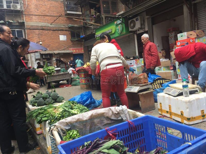 Agriculteurs marché-Nan-Tchang nouveau Year& x27 ; s Ève photo stock
