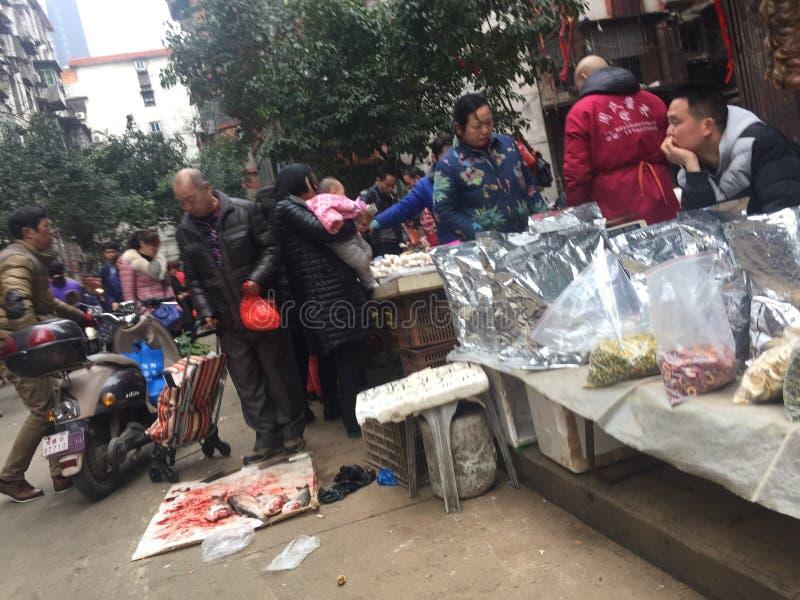 Agriculteurs marché-Nan-Tchang nouveau Year& x27 ; s Ève photographie stock