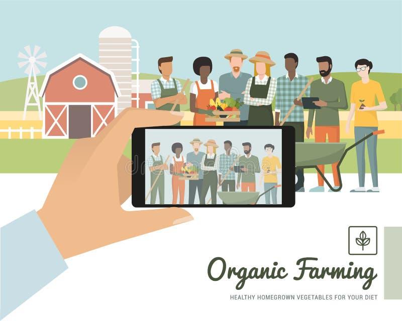 Agriculteurs posant ensemble illustration de vecteur
