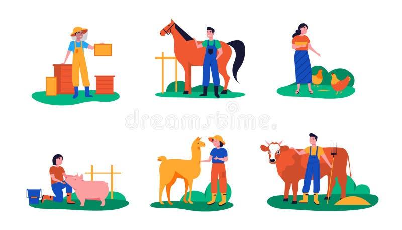 Agricultores animales de cría imagen de archivo