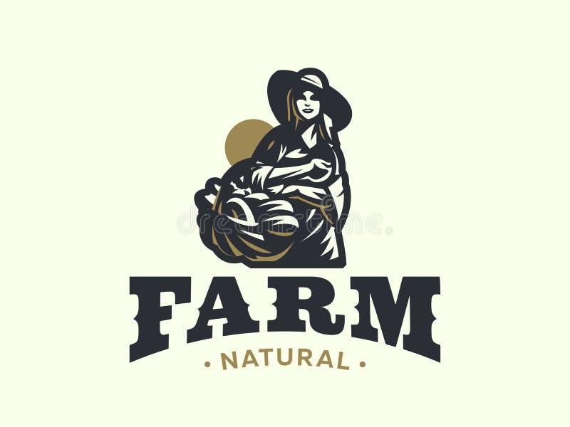 Agricultrice avec le panier des légumes et des fruits illustration stock