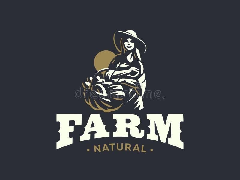 Agricultrice avec le panier des légumes et des fruits illustration libre de droits