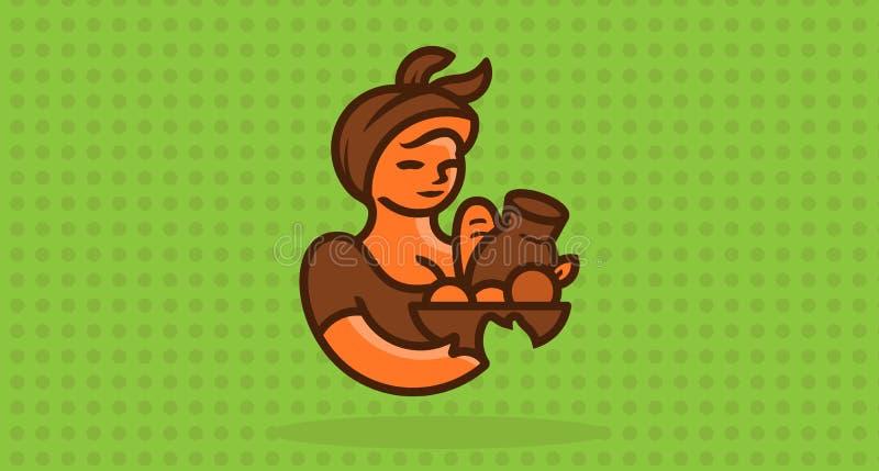 Agricultrice avec un panier de nourriture illustration de vecteur
