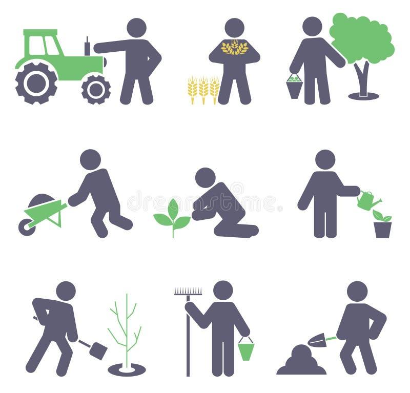 Agricultura. Ajuste ícones ilustração do vetor