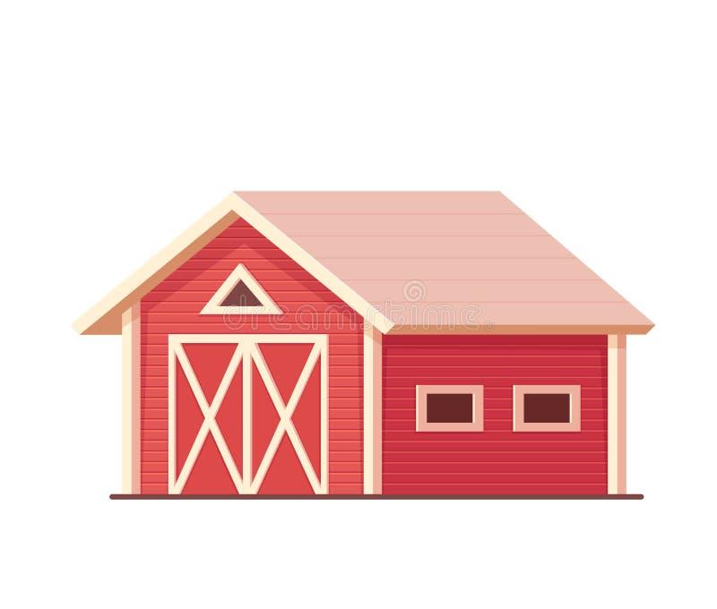 agricultura Celeiro ou rancho vermelho da exploração agrícola isolado no branco ilustração stock