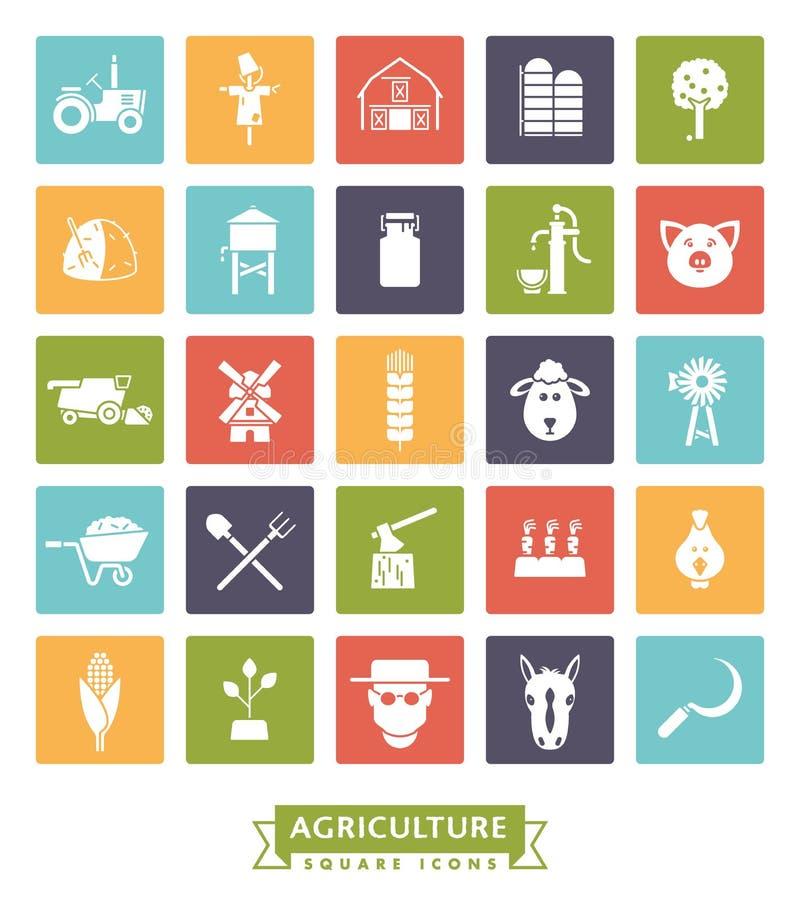 Agricultura e cultivo do grupo quadrado do ícone da cor ilustração do vetor