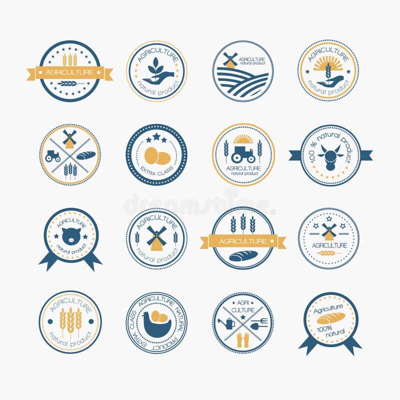 Agricultura e logotipos do cultivo ilustração royalty free