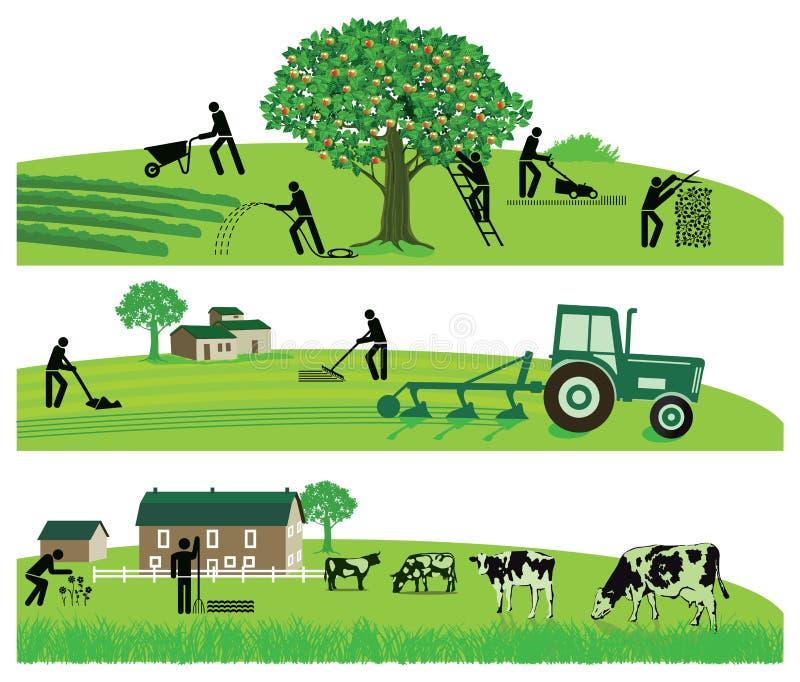 Agricultura e rebanhos animais ilustração do vetor