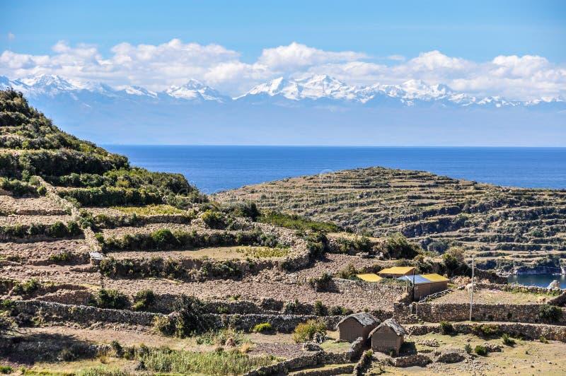 Agricultura em Isla del Sol no lago Titicaca em Bolívia fotos de stock