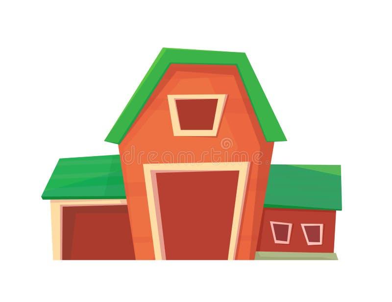 Agricultura Granero o rancho rojo de la granja aislado en blanco ilustración del vector