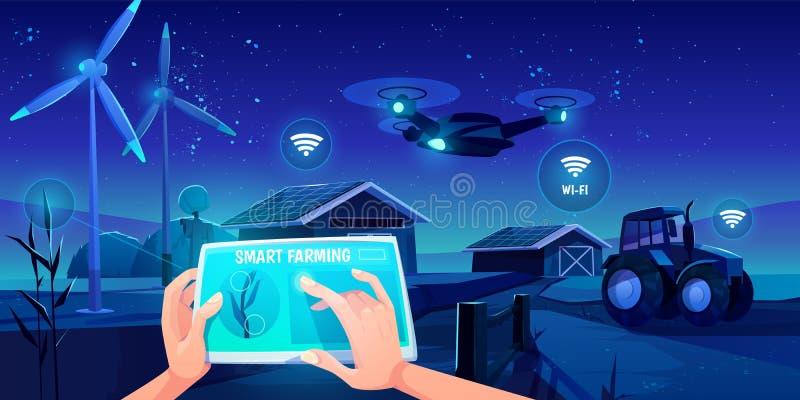 Agricultura inteligente, tecnologías futuristas en la agricultura stock de ilustración