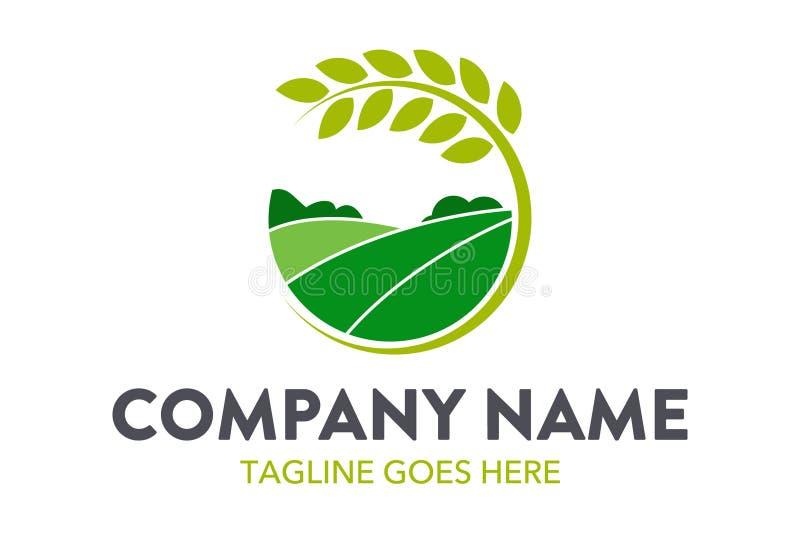Agricultura original e cultivo, molde do logotipo da paisagem ilustração stock