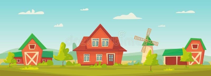 agricultura Paisagem rural da exploração agrícola com celeiro, a casa e o rancho vermelhos ilustração royalty free