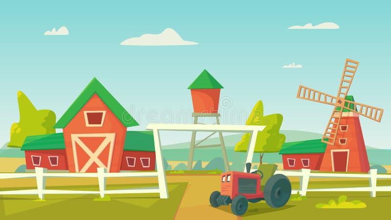 agricultura Paisagem rural da exploração agrícola com moinho de vento e o trator vermelhos ilustração do vetor