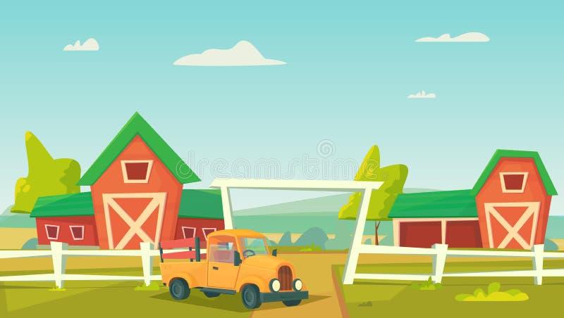 agricultura Paisagem rural da exploração agrícola com o caminhão vermelho do celeiro e da exploração agrícola imagem de stock royalty free