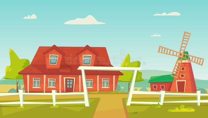 agricultura Paisagem rural da explora??o agr?cola com celeiro, casa e rancho, torre de ?gua e monte de feno vermelhos ilustração stock
