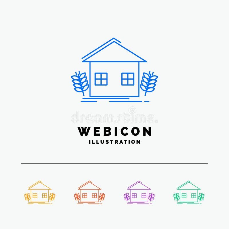 agricultura, urbana, ecologia, ambiente, cultivando a linha de cor 5 molde do ícone da Web isolado no branco Ilustra??o do vetor ilustração do vetor