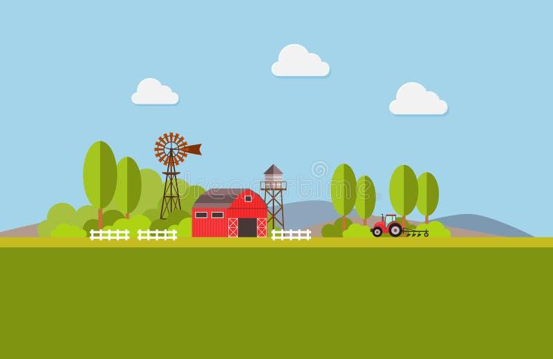 Agricultura y cultivo agribusiness Paisaje rural Diseñe los elementos para el gráfico, los sitios web y los medios impresos de la stock de ilustración