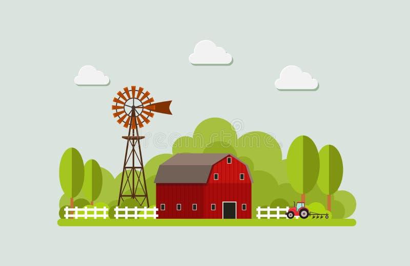 Agricultura y cultivo agribusiness Paisaje rural Diseñe los elementos para el gráfico, los sitios web y los medios impresos de la ilustración del vector