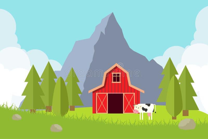Agricultura y cultivo Paisaje rural Ilustración del vector fotos de archivo