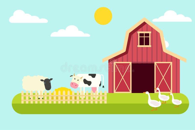 Agricultura y cultivo Paisaje rural Ilustración del vector fotos de archivo libres de regalías