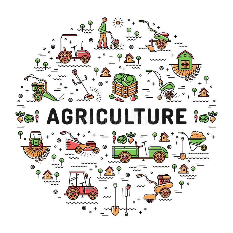 Agricultura y línea iconos del arte, infographics de la granja, maqueta que cultiva un huerto del cultivo stock de ilustración