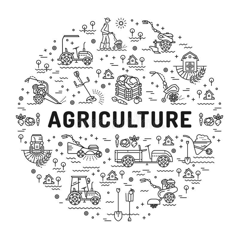 Agricultura y línea iconos del arte, infographics del cultivo de la granja stock de ilustración