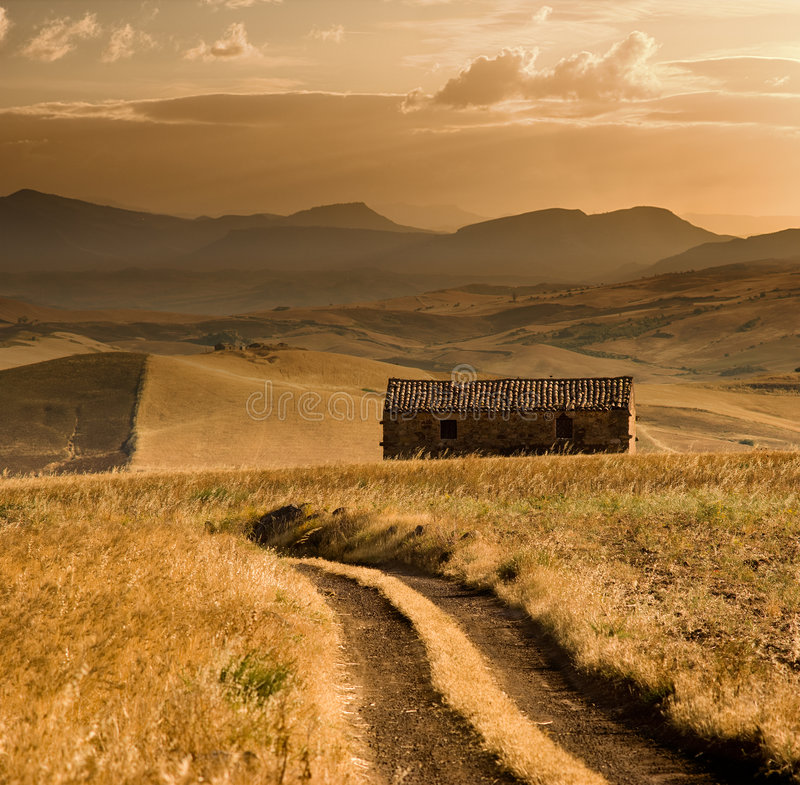 Agricultural area at sunset stock photography