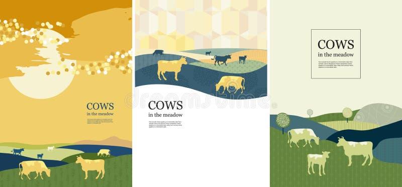Cows Art Print Farm Scene barn windmill Rural Midwestern Cattle Landscape