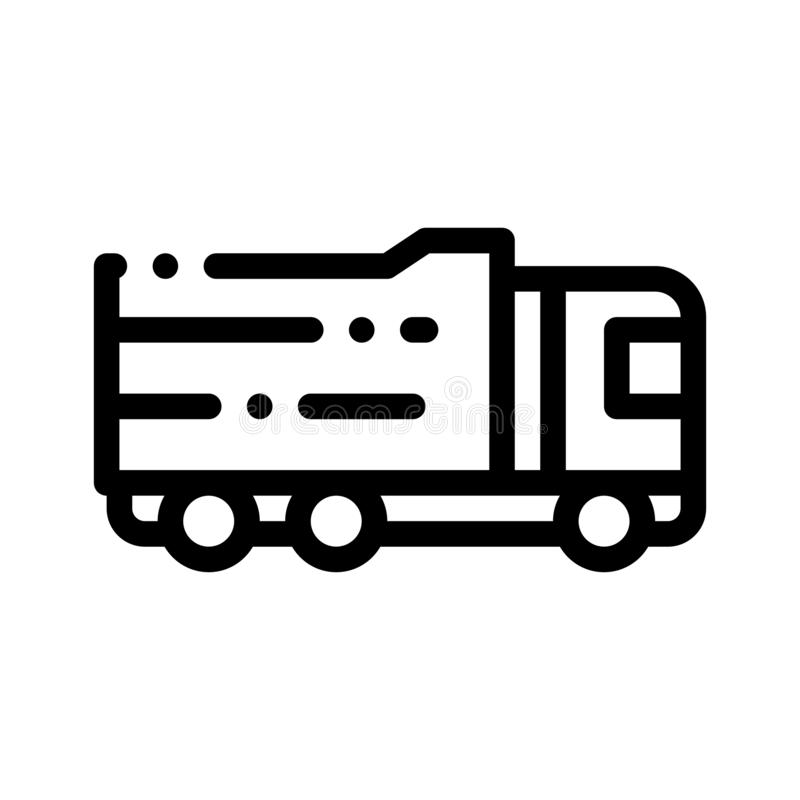 Agricultural Big Cargo Truck Vector Thin Line Icon vector illustration