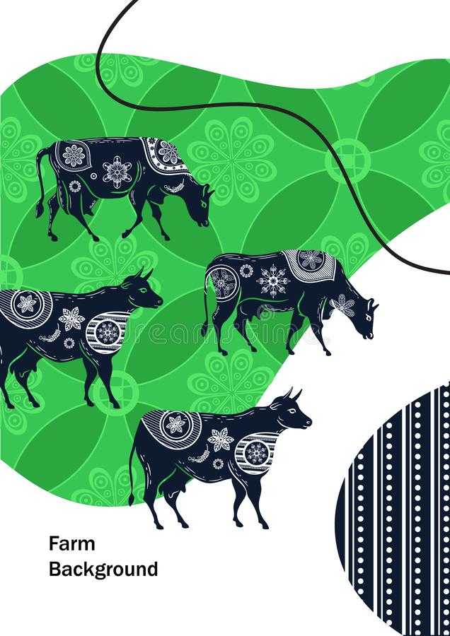Agricultural brochure layout design. An example of a backdrop for cattle farm. Silhouettes of cows with floral ornament stock illustration