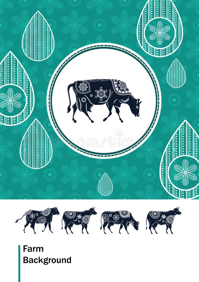 Agricultural brochure layout design. An example of a backdrop for cattle farm. Silhouettes of cows with floral ornament vector illustration