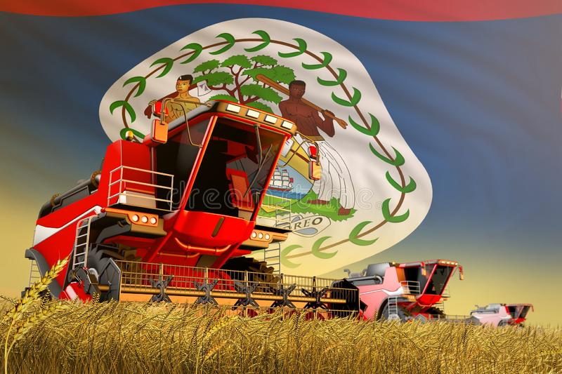 Agricultural combine harvester working on grain field with Belize flag background, food production concept - industrial 3D. Industrial 3D illustration of stock illustration