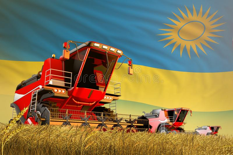 Industrial 3D illustration of agricultural combine harvester working on farm field with Rwanda flag background, food production. Agricultural combine harvester royalty free illustration