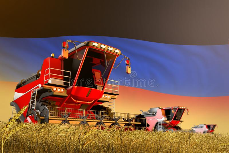 Industrial 3D illustration of agricultural combine harvester working on rye field with Donetsk Peoples Republic flag background,. Agricultural combine harvester vector illustration