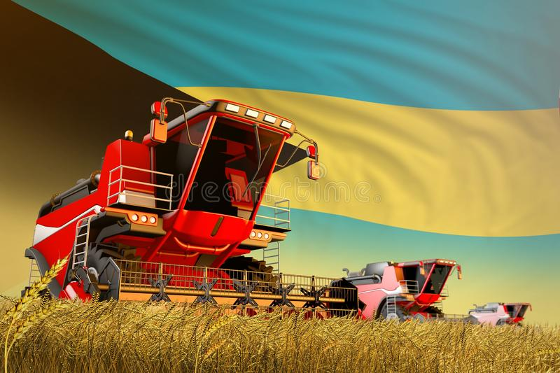 Agricultural combine harvester working on rye field with Bahamas flag background, food production concept - industrial 3D. Industrial 3D illustration of stock illustration