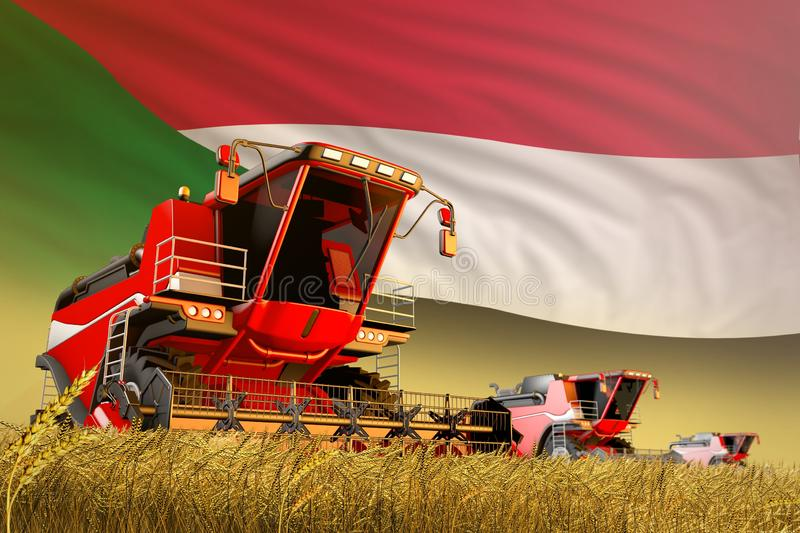 Agricultural combine harvester working on rye field with Sudan flag background, food production concept - industrial 3D. Industrial 3D illustration of royalty free illustration