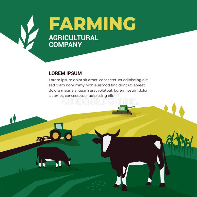 Agricultural company design template. Vector illustration of farming with tractor royalty free illustration