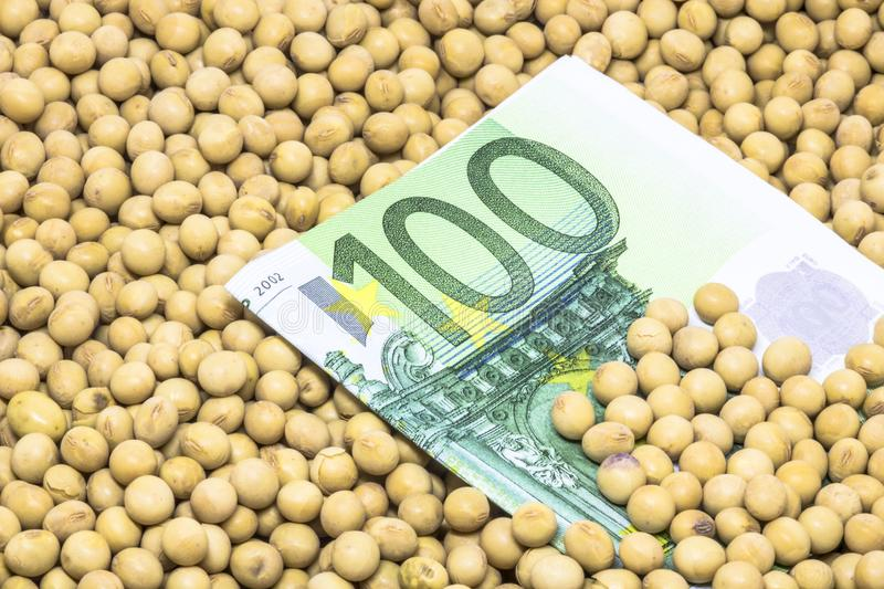 Euro banknote with soybean background. Agricultural concept, soybean at 100 Euro banknote royalty free stock images