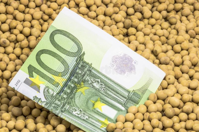 Euro banknote with soybean background. Agricultural concept, soybean at 100 Euro banknote royalty free stock photo