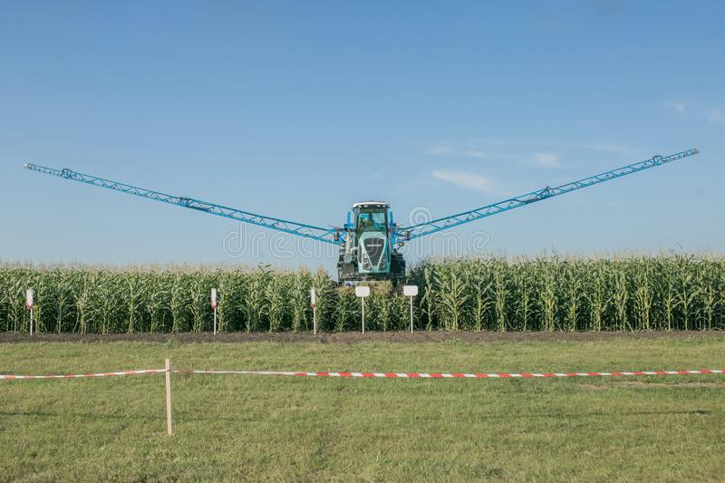 Agricultural irrigation system watering corn field on sunny summer day. royalty free stock photos