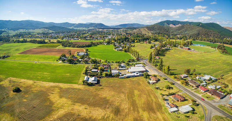 Agricultural fields in Australian countryside aerial panorama. M stock images