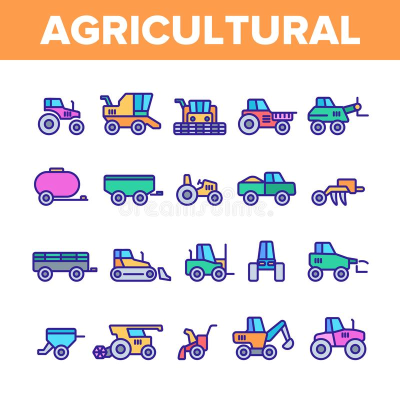 Agricultural Heavy Machinery Vector Linear Icons Set stock illustration