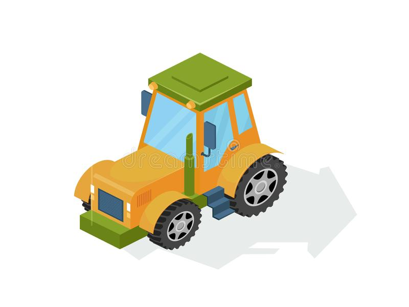 Agricultural industrial machine, farm tractor, combine. Commercial agricultural transport. royalty free illustration