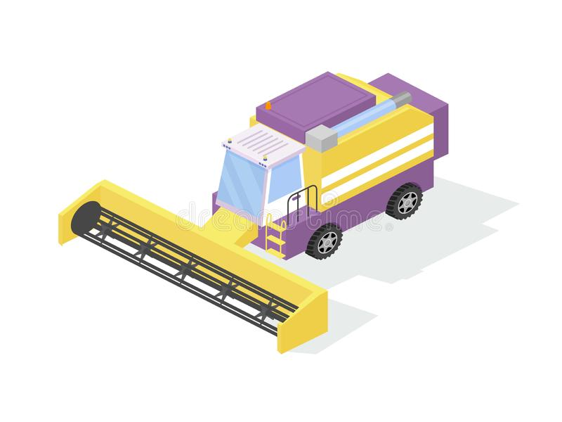 Agricultural industrial machine, farm tractor, harvester for grain harvesting, combine. royalty free illustration