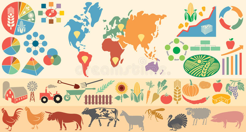 Agricultural infographic elements. Icons set with farm, agricultural elements royalty free illustration
